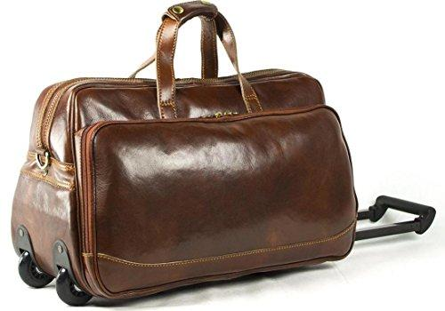 Genuine italian leather rolling travel duffel bag best luggage reviews 2017 for Leather luggage wheeled duffel